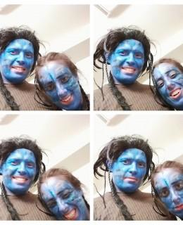 4 photos d'identité Sarah et Maxime en tant que alien aux USA pour Halloween