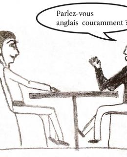 dessin comique pour un entretien d'embauche question anglais. Sarah