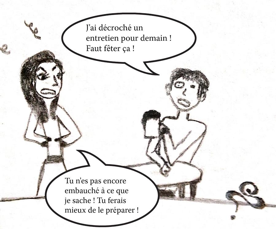 dessin comique fille enervee homme bourre.