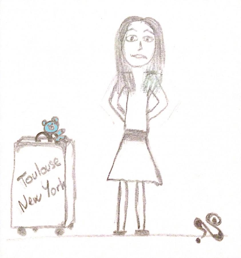 dessin comique fille valise Nounou Bleu départ pour les USA