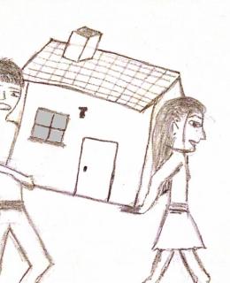 dessin comique Sarah et Maxime transportent leur appartement