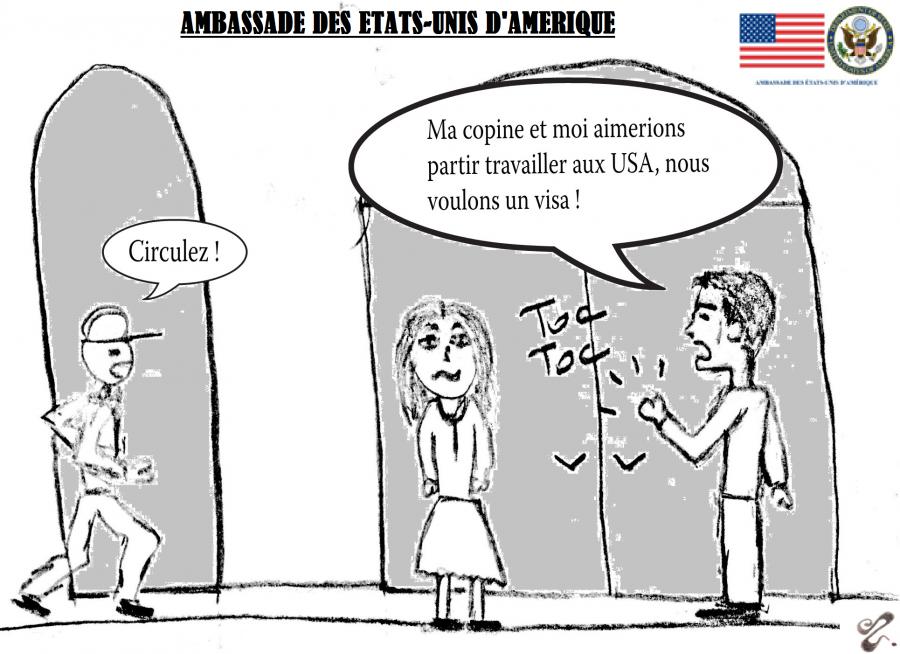 Se procurer un visa à l'ambassade des Etats-Unis, dessin comique