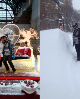 coeur de glace et 1,80 mètre de neige, à Boston Maxime et Sarah