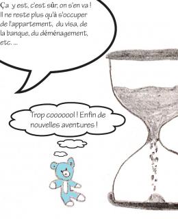 dessin comique d'un sablier qui représente le temps, les choses à faire Sarah et Nounou Bleu
