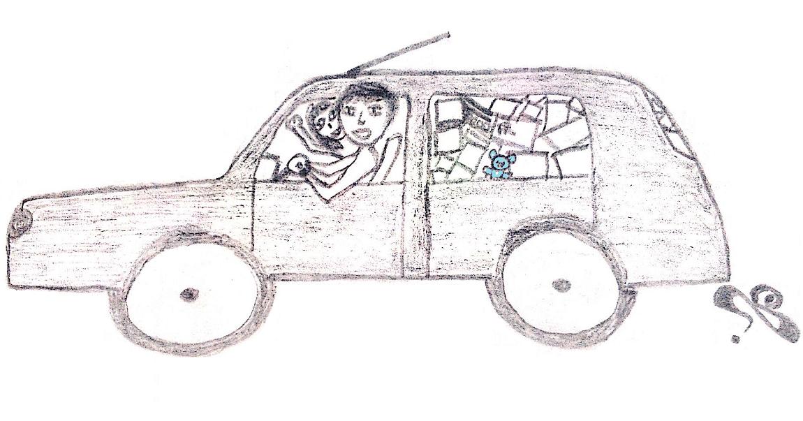 dessin comique voiture remplie à ras bord, déménagement