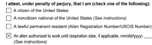 formulaire I9, question un alien autorisé à travailler