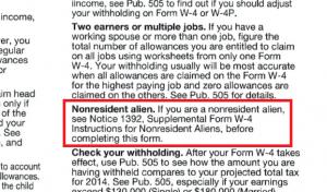 formulaire W4, calculer si résident ou pas, restrictions à prendre en compte
