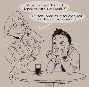dessin ironique, propriétaire irresponsable face à une demande du locataire Maxime et Sara