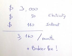 le calcul des charges et loyer par mois à New York
