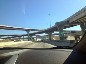 sur la route entre Dallas et Fort Worth