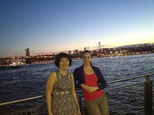 Williamsburg bridge à la tombée de la nuit