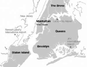 carte New York City arrondissements