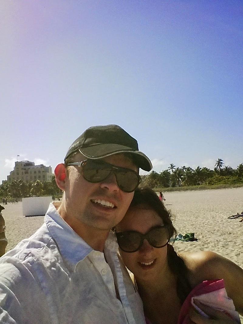 Maxime et Sarah sur la plage de Miami Beach