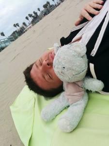 sur la plage de Venice beach, Maxime et Nounou Bleu