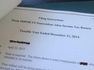 première tax return, déclaration d'impôt USA