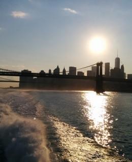 coucher de soleil sur New York, East river