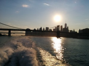 coucher de soleil sur New York, East river