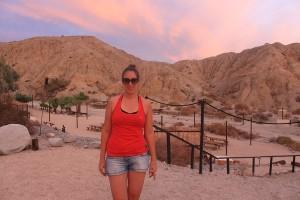 Sarah dans le désert de Palm Spring, faille de San Andreas
