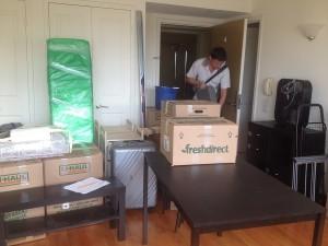 dans l'appartement, mise en carton pour le déménagement