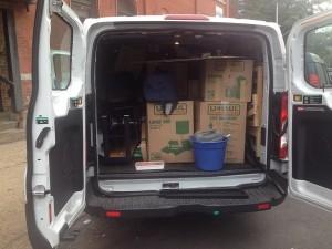 tous les cartons tiennent dans 145 CF, dans le van à New York City